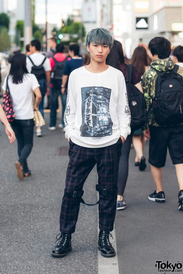 Grey-Haired Harajuku Guy Street Style w/ Sprout 2nd, Dr. Martens & Punk Leg Straps