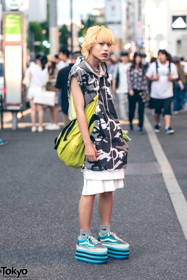 Blonde Harajuku Guy Street Style w/ Balmung, Vans, Puma & Nike