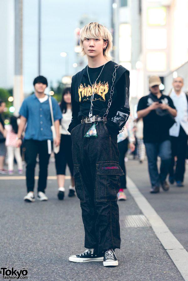 All Black Harajuku Streetwear w/ Caveat Emptor, Thrasher, Polo, Converse & Yuma Shimazaki