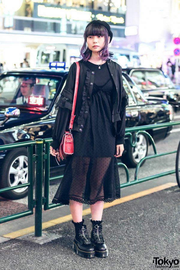 Harajuku Girl in Kawaii Black Fashion w/ Candy Stripper, Bubbles, E Hyphen World Gallery BonBon, Dr. Martens & Nadia