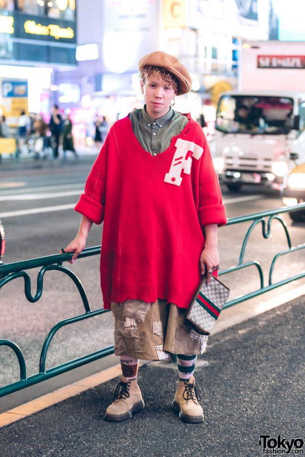 Harajuku Guy in Oversized Vintage Street Fashion w/ Raf Simons, Dr. Martens & Gucci Clutch