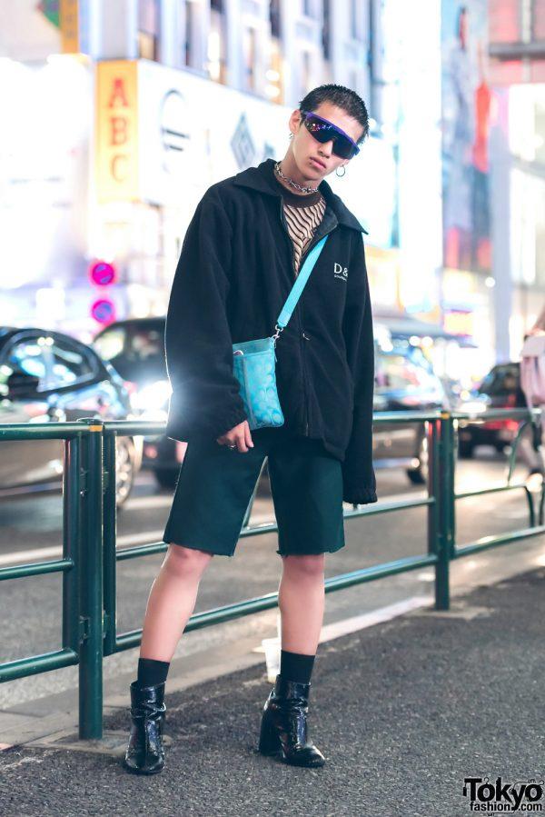 Dark Streetwear Fashion in Harajuku w/ Dolce & Gabbana Hoodie Jacket & Coach Sling Bag