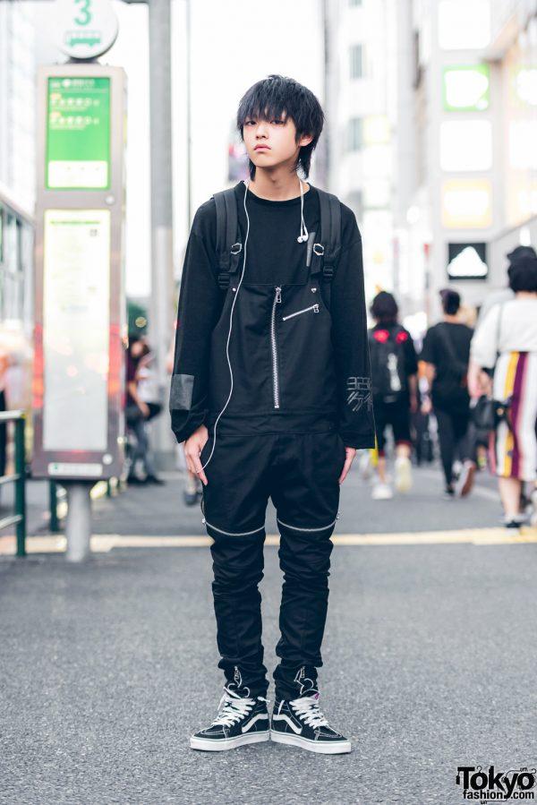 All Black Harajuku Street Style w/ Zipper Overalls, Bounty Hunter Backpack, Black Means & Vans