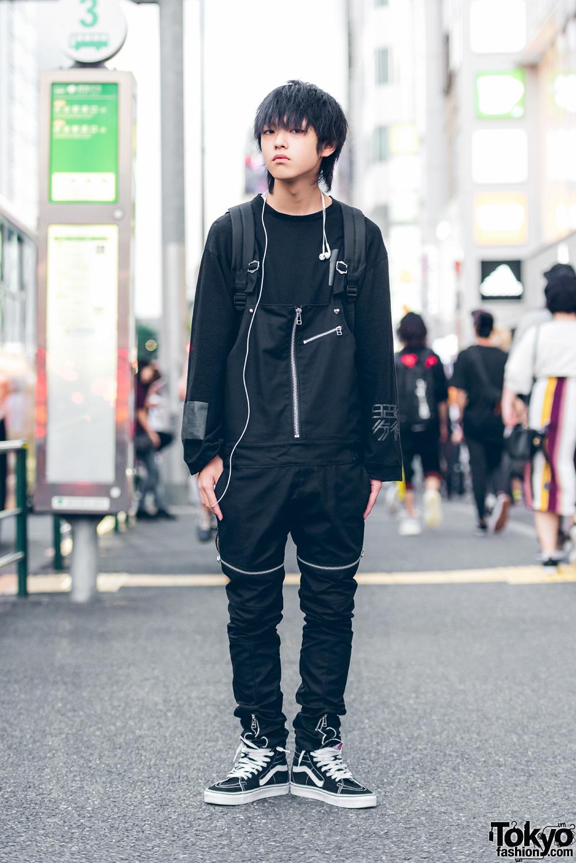 5b73426e1d All Black Harajuku Street Style w  Zipper Overalls