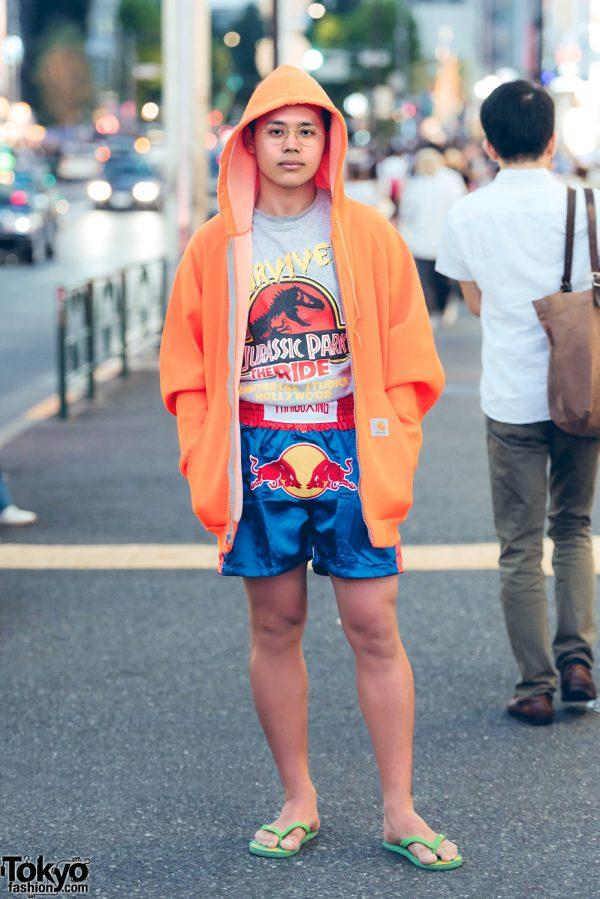 Streetwear Style in Harajuku w/ Carhartt, Jurassic, Red Bull & Thailand Bought Flip Flops