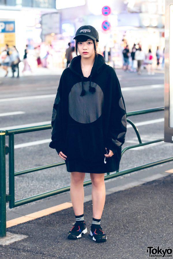 "Harajuku Girl in Black Oversized Hoodie, ""Kurosawa"" Cap & Nike Air Rift Split Toe Sneakers"