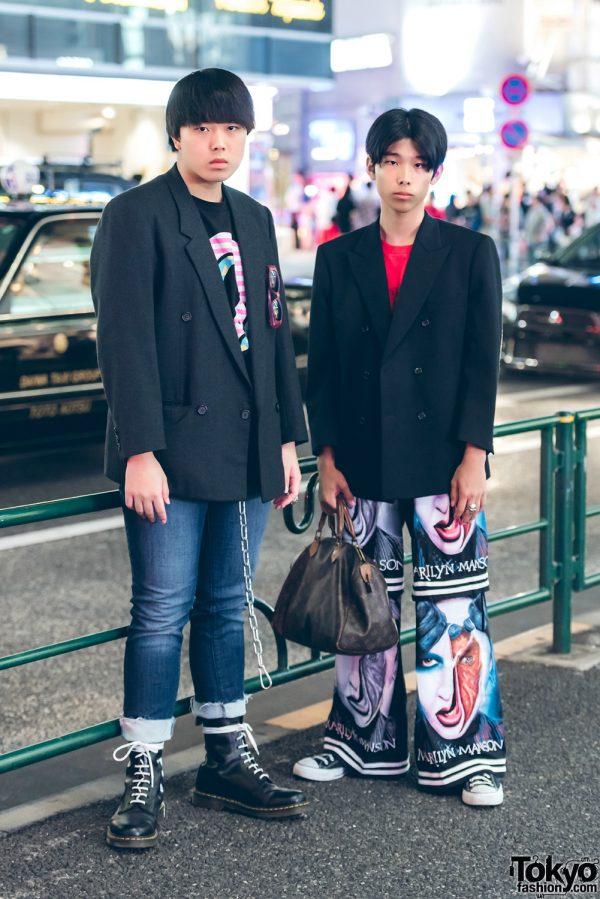 Harajuku Guys in Black Blazer Street Styles w/ Y's, Dog Harajuku, Odd Future, Converse, Dr. Martens, Supreme & Louis Vuitton