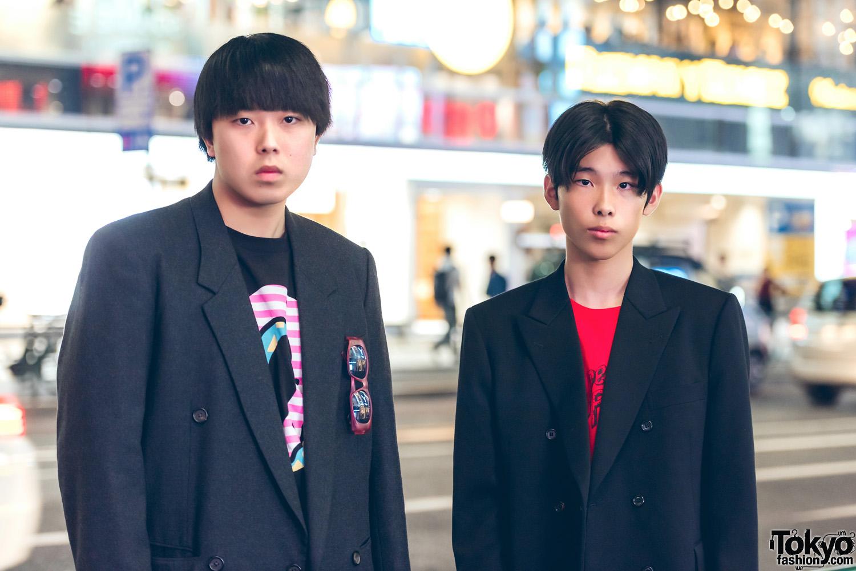Harajuku Guys in Black Blazer Street Styles w Y's, Dog