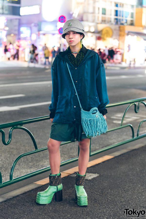 Harajuku Guy in Shades of Green Street Style w/ Kinji, Adidas, Apollo & Vintage Platform Boots