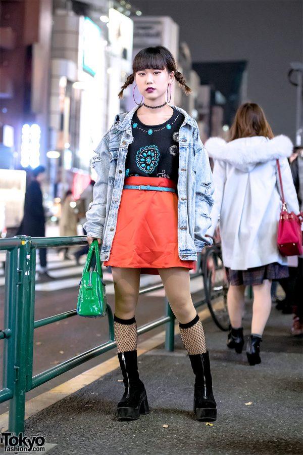 Harajuku Girl in Acid Wash Denim, Turquoise & Platform Boots w/ Punk Cake, Faith Tokyo & X-Girl