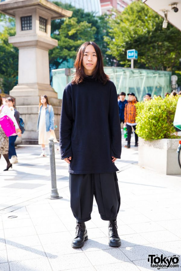 Harajuku Guy in All Black Streetwear w/ Ground Y & Dr. Martens Boots