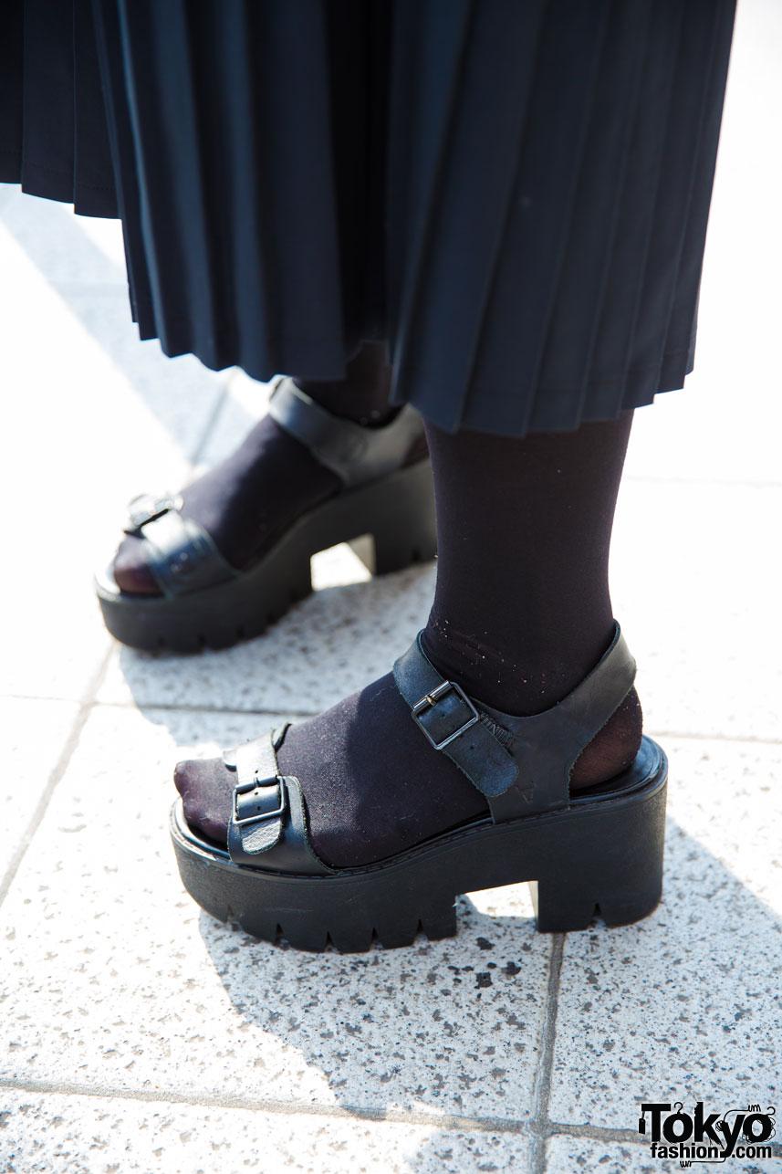 All Black Street Fashion In Harajuku W Adidas Zipper