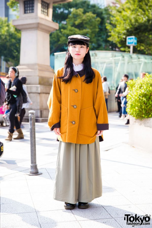 Harajuku Girl in Vintage Style w/ Issey Miyake, UNIQLO, Spinns, Dr. Martens, Amijed & Vivienne Westwood