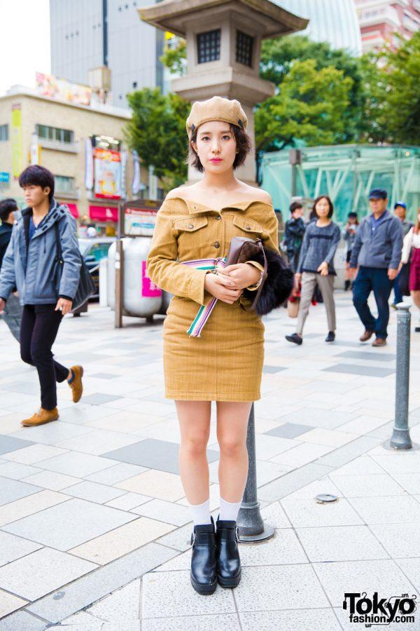 Harajuku Girl in Vintage Fashion w/ Zara Booties & Louis Vuitton Handbag