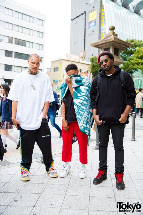 RAGS Fashion Creators in Harajuku Sporting Casual Streetwear Styles w/ Palm Angels & Nike Sneakers