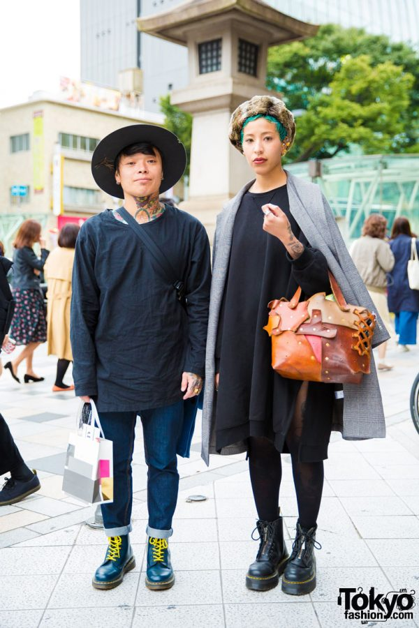 Harajuku Duo in Eclectic Vintage Street Styles w/ Patchwork Bags, Dr. Martens Boots, & e.m. Jewelry