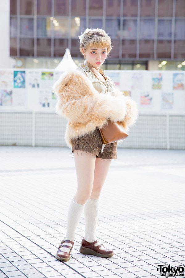 Japanese Street Style w/ Faux Fur Coat, Lingerie Top, Vintage Plaid Shorts & Dr. Martens Mary Janes