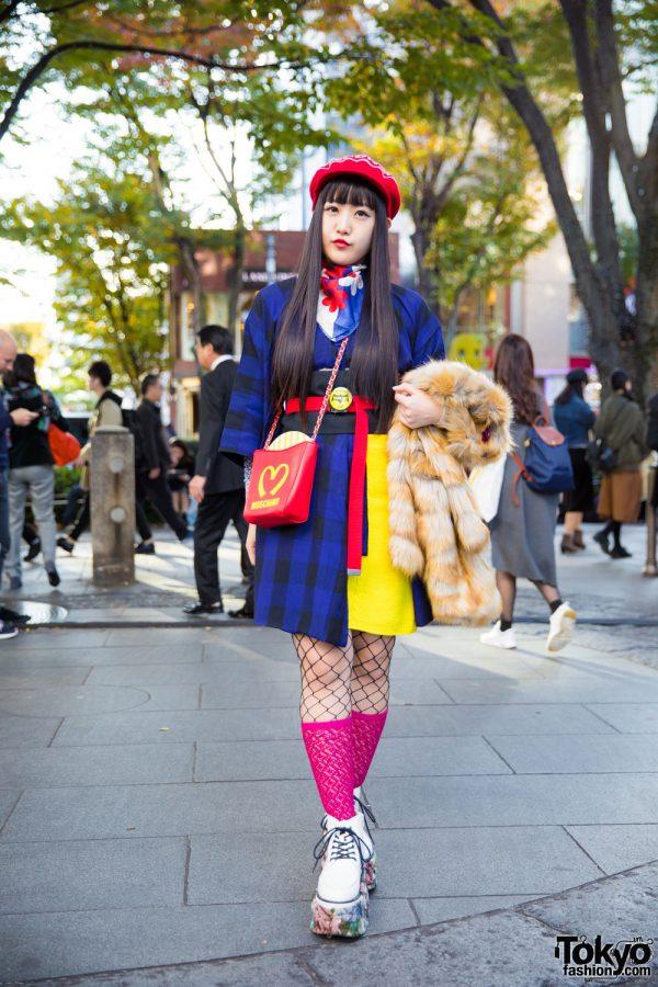 Harajuku Girl in Fun Street Style w/ Betty Boop Kimono, Moschino French Fries & Floral Platforms