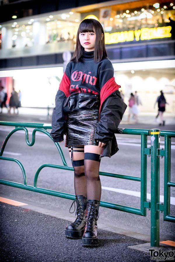 Harajuku Girl in Off Shoulder Jacket, Ohio State Sweatshirt, Faith Tokyo Faux Leather Skirt & Demonia
