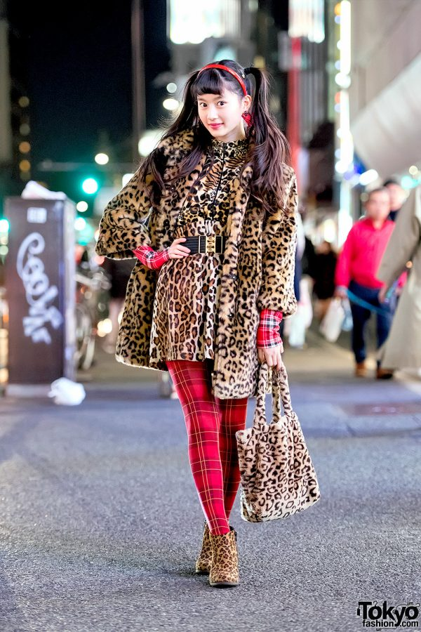 Harajuku Teen Street Style w/ Leopard Print Coat Over Leopard Dress, Leopard Booties & Leopard Bag