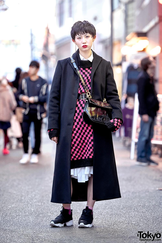 Harajuku Girl W Short Hairstyle In Maxi Coat Reebok Pump Sneakers Ferragamo Purse Tokyo Fashion