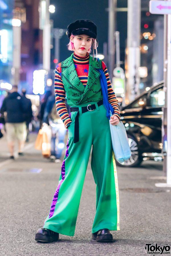Harajuku Girl in Green Resale Street Style w/ RRR by Sugar Spot Factory & Kinji