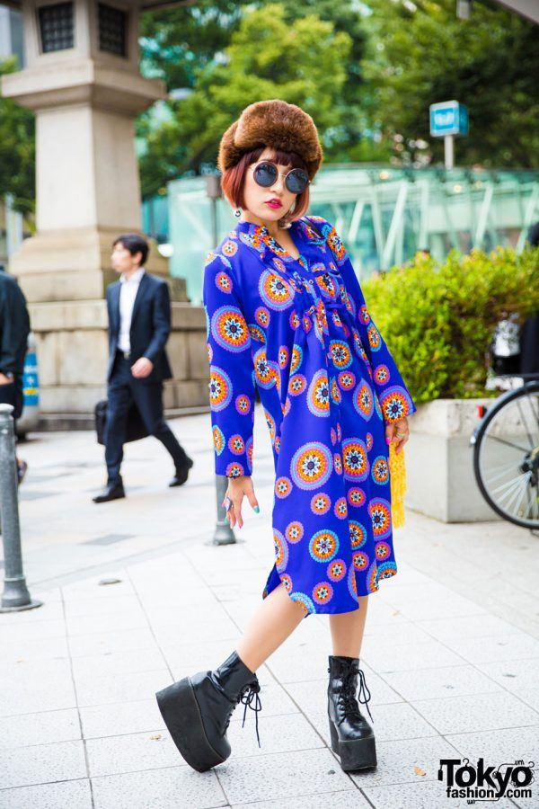 J-Pop Singer Mikuro Mika in Harajuku w/ Colorful Vintage Dress, Platform Boots & Kate Spade Tassel Bag
