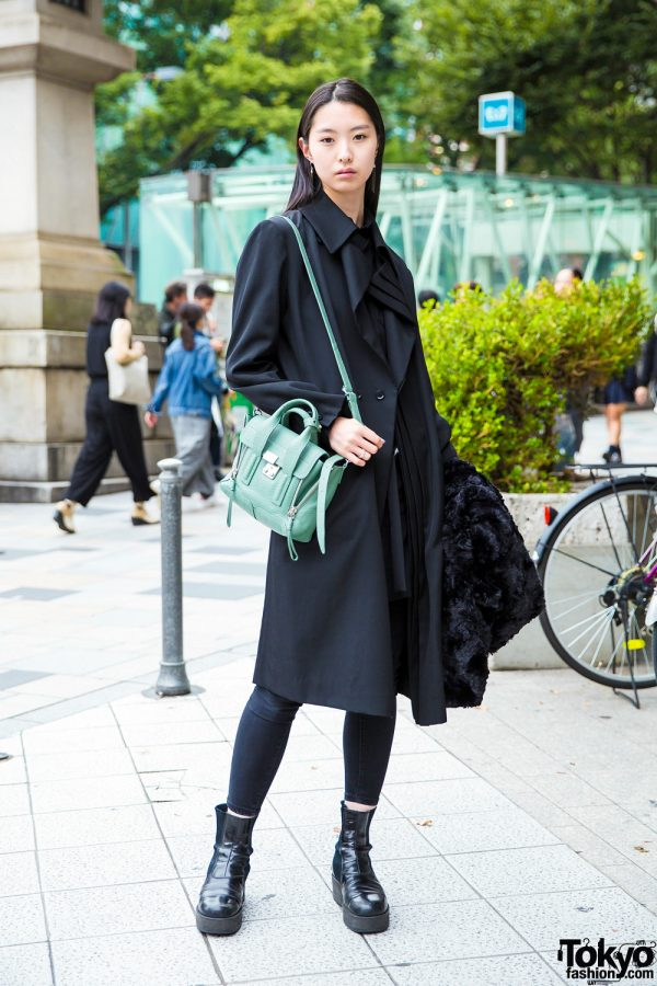 Japanese Model in All Black Street Fashion w/ Yohji Yamamoto, iolom & 3.1 Phillip Lim