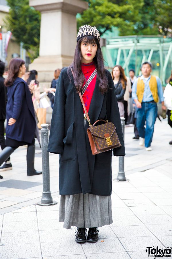 Harajuku Girl in Vintage Maxi Coat From Fethers Goffa, Louis Vuitton, Fendi & Christian Dior Sports