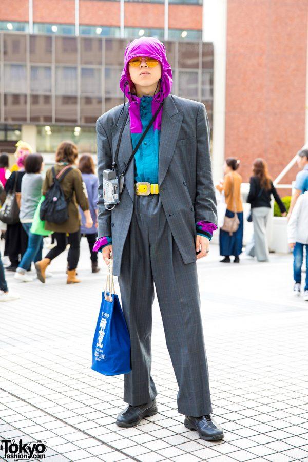 Japanese Streetwear Style w/ Hoodie Under Vintage Suit, Yellow Belt & Sneakers
