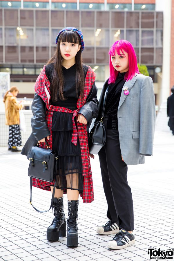Japanese Girls in Winter Streetwear w/ Vintage Fashion, Dolls Kill, New York Joe, Vivienne Westwood & Adidas