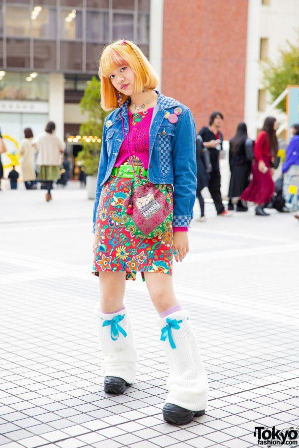 Kinji Harajuku Cropped Denim Jacket, Petit Cochon Sweater, Vintage Dress, Loose Socks & Pinnap