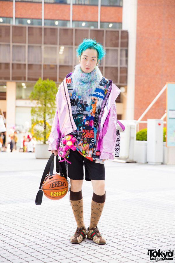 Aqua-Haired Tokyo Guy in Streetwear Style w/ Rauco House, Damage, Jeremy Scott, Gucci & Galaxxxy