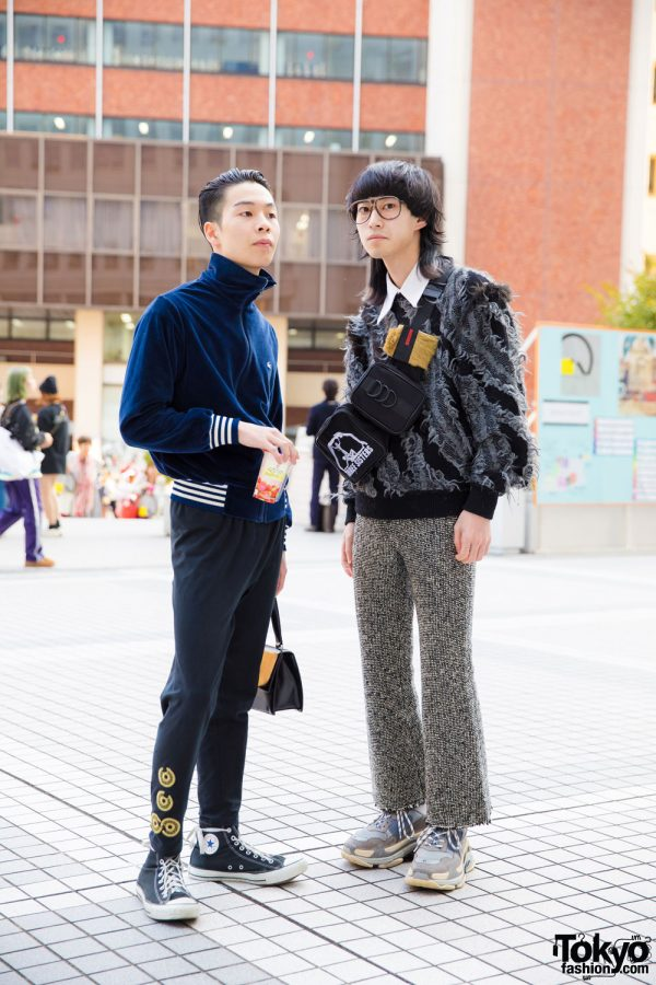 Tokyo Guys in Sweater Street Fashion w/ 70s Lacoste, Converse, Tricot Comme des Garcons, Issey Miyake, Balenciaga & Pameo Pose