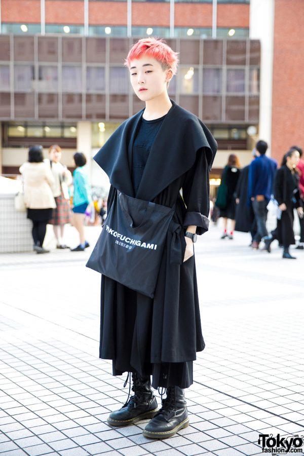 Pink Hair & All Black Minimalist Fashion by Yohji Yamamoto, Yoko Fuchigami, Issey Miyake & Dr. Martens