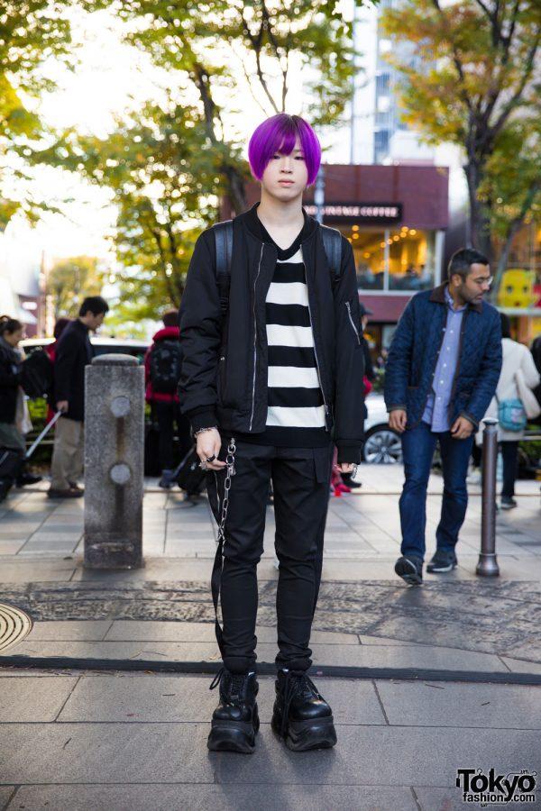 Purple-Haired Harajuku Guy in Monochrome Streetwear w/ WEGO, Uniqlo, Legenda, Nyulycadelic, Demonia, Alice Black & Vivienne Westwood