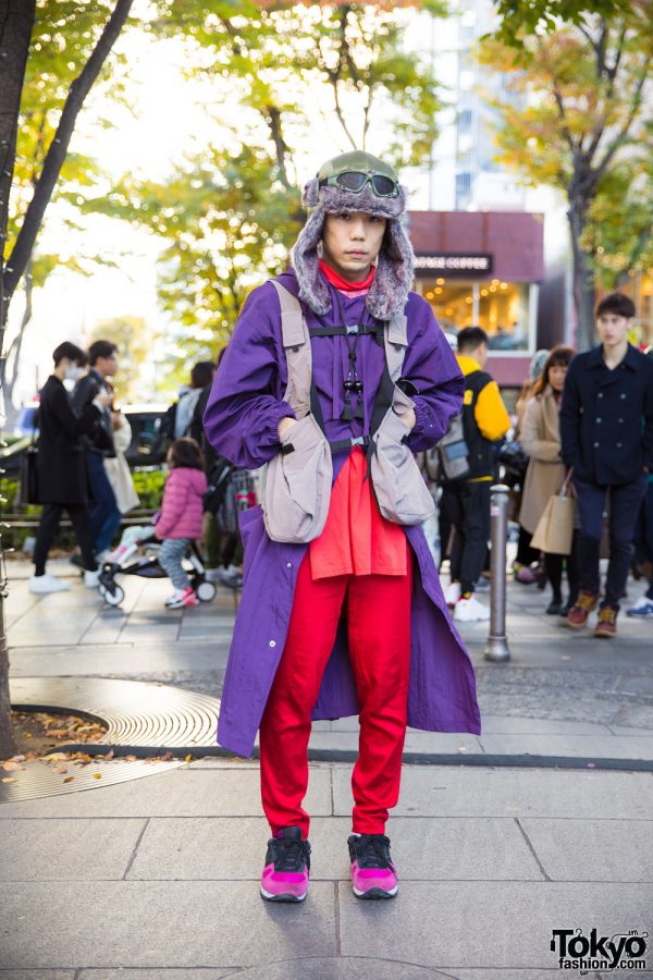 Harajuku Guy in Winter Street Style w/ Ralph Lauren, Hare, Vintage Two-Tone Sneakers & Fur Trapper Hat