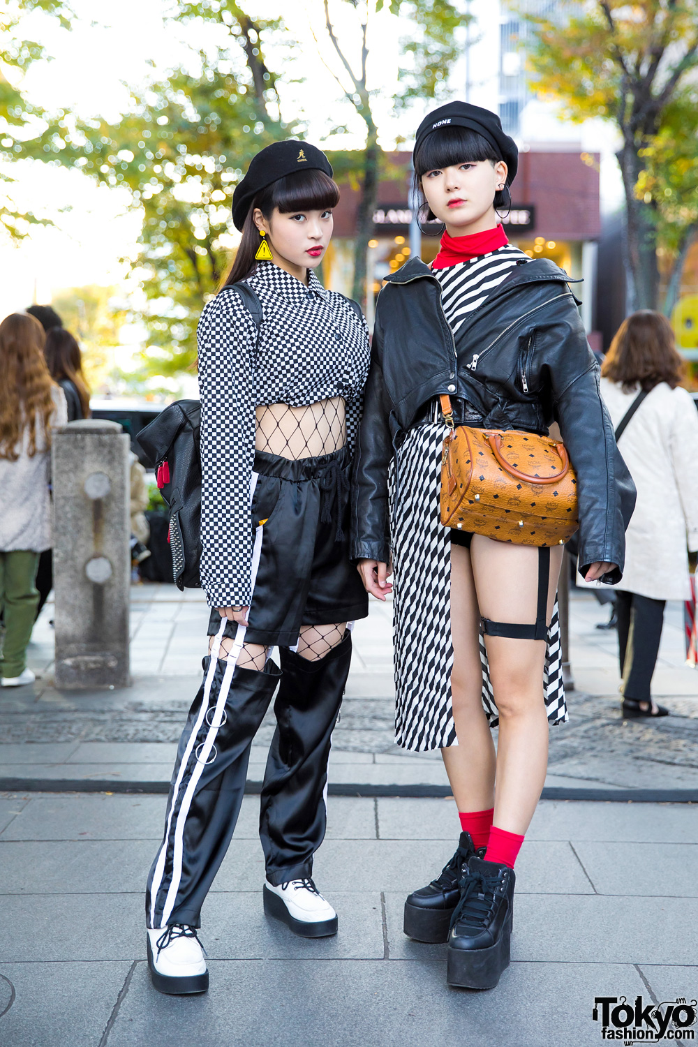 Harajuku Girls In Monochrome Streetwear Styles W Open The Door One Spo Kinji Yru Bubbles Mcm