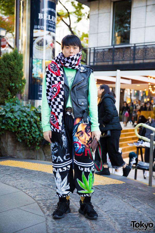 Harajuku Guy in Thrift Tokyo Leather Vest, Supreme & Dog Harajuku Fashion