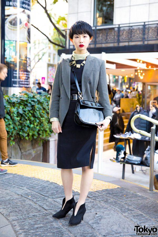 Stylish Harajuku Girl w/ The Four-Eyed Tokyo Blazer, Black Dress & Pointy Booties