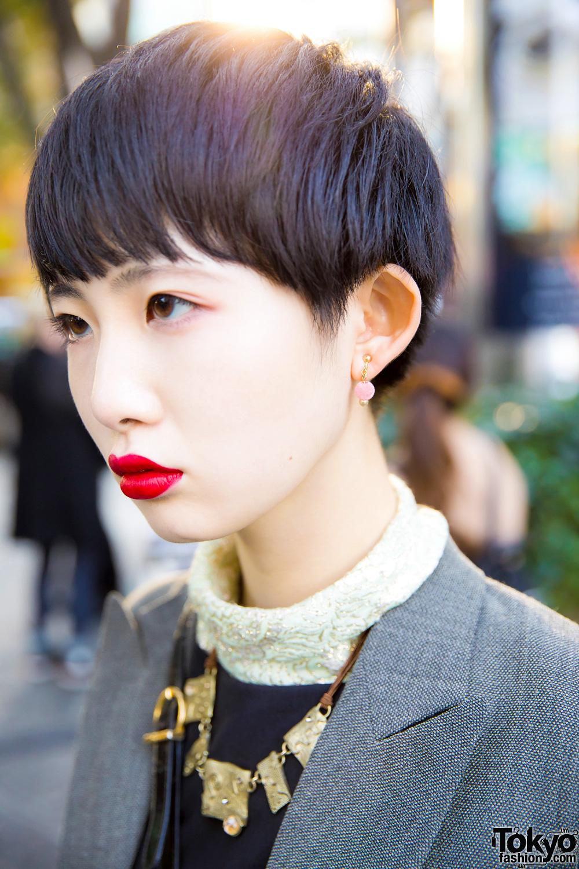 Stylish Harajuku Girl W The Four Eyed Tokyo Blazer Black
