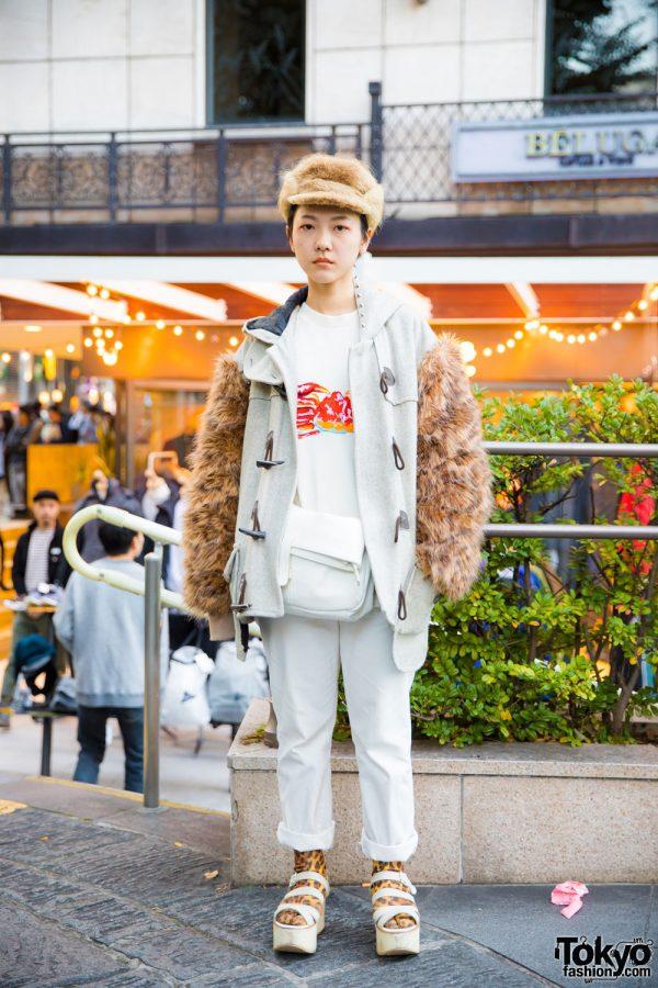 Harajuku Girl in Remake Street Fashion w/ Written By T-Shirt & Tokyo Bopper Platform Sandals