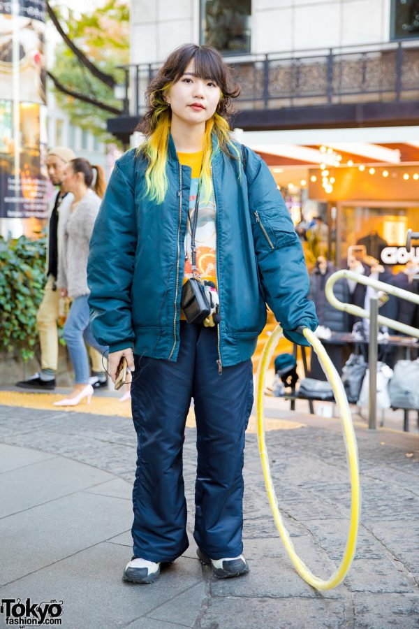 Japanese Artist w/ Yellow Hair in Harajuku Wearing Bomber Jacket, Landlord New York, Adidas x Hyke & Nike