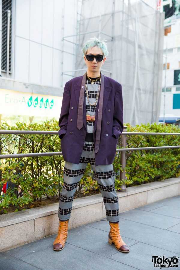 Mint-Haired Harajuku Guy in Japanese Streetwear Fashion w/ Paul Smith, 99%IS-, Alexander Wang, MCM & Chanel