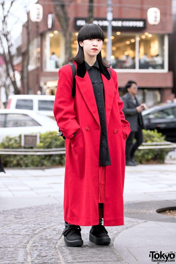 Minimalist Japanese Style w/ Otoe Red Maxi Coat, Tokyo Bopper Shoes & Tokyo Bopper Backpack