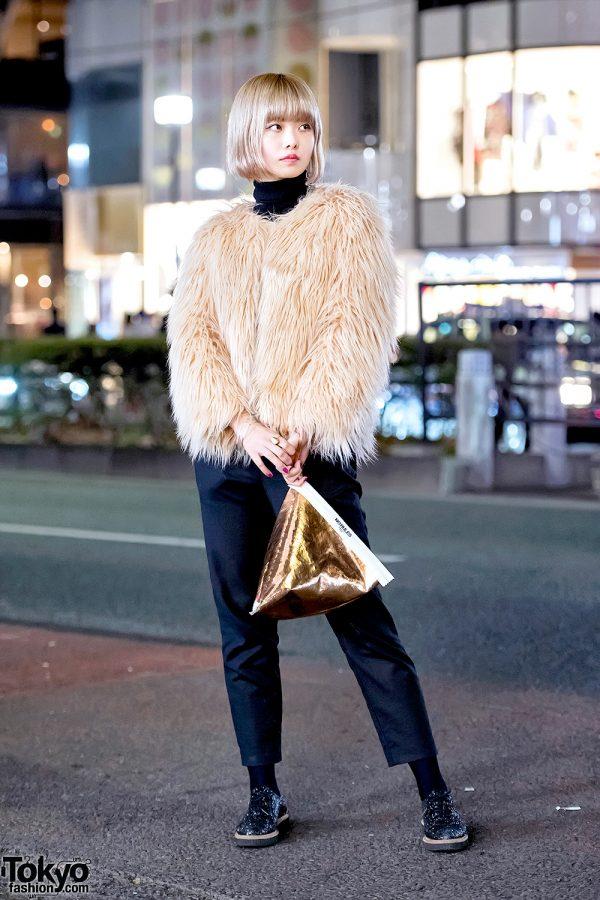 Vintage Faux Fur Coat, Cropped Pants & Gold Ameri Vintage Clutch Purse in Harajuku