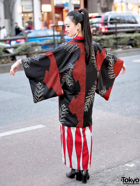 Japanese Street Style W Kimono Hazuki Kimono Amp Tomorrowland Ankle Boots