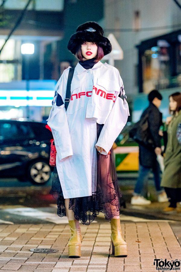 Harajuku Style by Japanese Streetwear Brand MYOB NYC & Snakeskin Boots