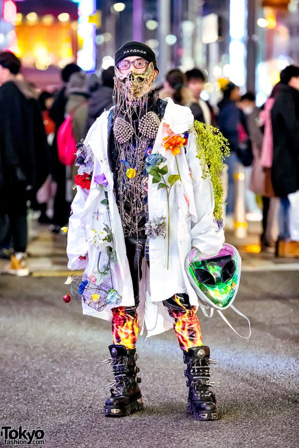 Japanese Streetwear w/ Dog Harajuku Metal Face Mask, Spikes, Studs, Safety Pins, Flowers & Platform Boots