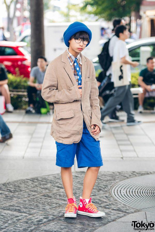 Harajuku Model in Blazer & Shorts Fashion w/ Comme des Garcons, Mizuno Golf, Converse, IKEA & Un Old Joke